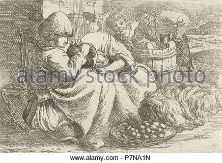 Old woman delouses a girl, Jan van Ossenbeeck, 1647 - 1674. - Stock Photo