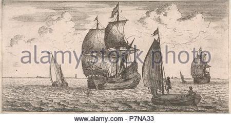 Receipt of the post at sea, Jacob Quack, Jan Houwens I, 1665. - Stock Photo