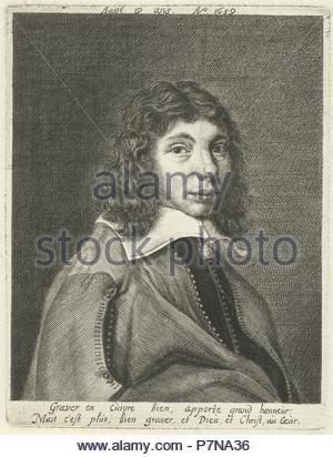 Self-portrait at the age of 19, Hendrik Bary, after 1659 - 1707. - Stock Photo
