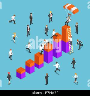 Flat 3d isometric business people competing to reach the top of the graph. Business competition concept. - Stock Photo