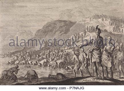 Gideon orders his men to drink water, Jan Luyken, Pieter Mortier, 1703 - 1762. - Stock Photo