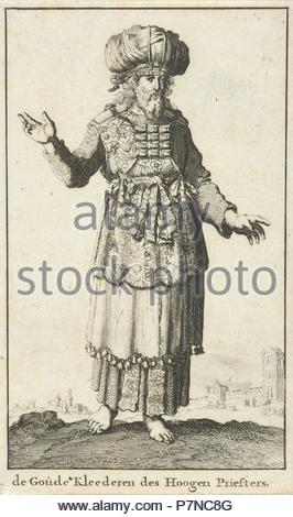 High Priest in liturgical clothing (version A), Jan Luyken, Willem Goeree, 1682. - Stock Photo