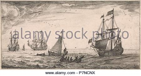 Ships at sea, Jacob Quack, Jan Houwens I, 1665. - Stock Photo