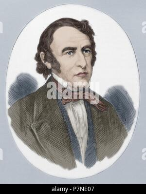 Zachary Taylor (1784-1850). American officer and politician. 12th President of the United States (1849-1850. Portrait. Engraving. Colored. - Stock Photo