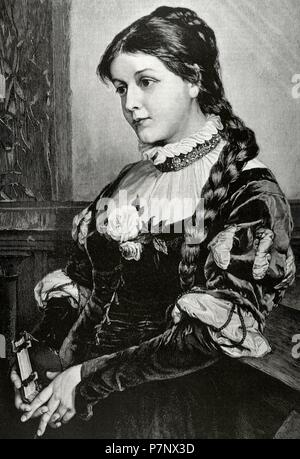 Faust. Tragic play by Johann Wolfgang von Goethe (1749-1832). Portrait of Margaret, character of the work and love of Faust. Engraving by Paar. The Illustration, 1884. - Stock Photo