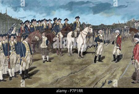 American Revolutionary War (1775-1783). Siege of Yorktown. Surrender of British Major General Lord Charles Cornwallis, (October 19, 1781). The action ends the Siege of Yorktown and virtually guarantees the American independency. Engraving. 19th century. Colored. - Stock Photo