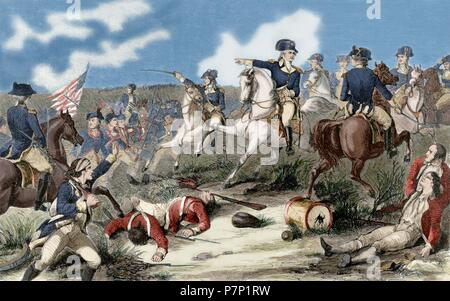 American Revolutionary War (1775-1783). Battle of Monmouth (June 28, 1778). George Washington (1732-1799), commander-in-Chief of the Continental Army, attacking the rear of the British Army led by Henry Clinton (1730-1795). Engraving in Harher's Weekly. 1858. commanding the troop in the Battle of Monmouth (1778). Engraving. 19th century. Colored. - Stock Photo