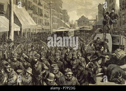 United States. New York city. Police officers dispersing the strike of employees of Streetcar. March 4, 1886. Engraving. 'La Ilustracion Espanola y Americana', 1886. - Stock Photo