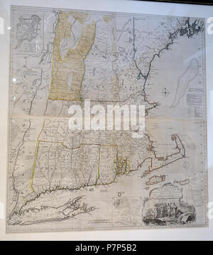 English: Exhibit in the Bennington Museum - Bennington, Vermont, USA. This work is in the  because the artist died more than 70 years ago. Photography was permitted in the museum without restriction. 28 February 2015, 13:27:21 11 A Map of the Most Inhabited Part of New England, by Thomas Jefferys, London, England, printed by William Faden, 1774 - Bennington Museum - Bennington, VT - DSC08732 - Stock Photo