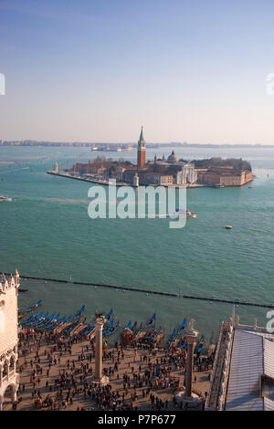 Piazzetta San Marco, Bacino San Marco and Isola di San Giorgio Maggiore beyond: seen from the top of the Campanile di San Marco, Venice, Italy - Stock Photo