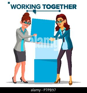 Working Together Concept Vector. Business Woman. Office Work. Environment. Business People. Isolated Cartoon Illustration - Stock Photo