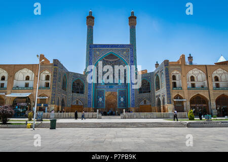 Isfahan, Iran - April 22, 2018: Historic Imam Mosque at Naghsh-e Jahan Square, Isfahan, Iran. Construction began in 1611 and is one of the masterpiece - Stock Photo
