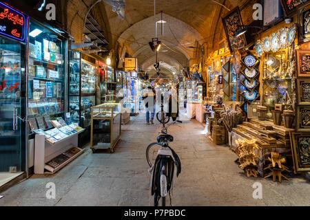 Isfahan, Iran - June 2018:  Isfahan Bazaar in Imam square in Isfahan, Iran. Bazaar of Isfahan is a popular tourist attraction. - Stock Photo