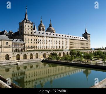 The Monastery of San Lorenzo de El Escorial, Royal Mausoleum created by King Felipe 2nd - Stock Photo