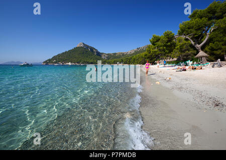 Platja Formentor (Playa de Formentor) near Port de Pollenca, Mallorca, Balearic Islands, Spain, Europe - Stock Photo