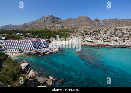 View over resort of Cala San Vincente in Summer - Stock Photo