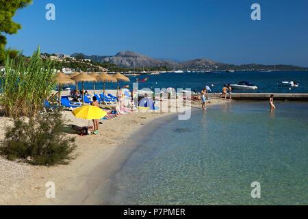 View along beach at Port de Pollenca - Stock Photo