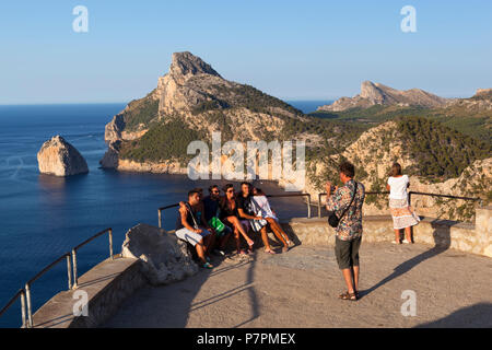 View over Cap de Formentor from Mirador es Colomer and Punta Nau - Stock Photo