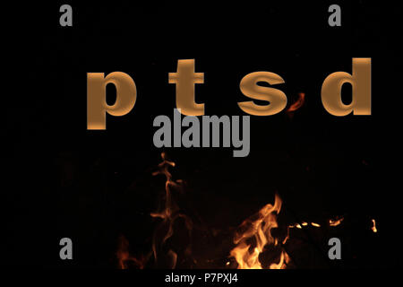 PTSD Medical abbreviation or acronym of post traumatic stress syndrome, mental disorder caused by traumatic events. Word PTSD on fire background,image - Stock Photo