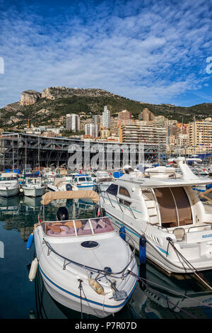 Principality of Monaco, boats and yachts in port on Mediterranean Sea, Europe - Stock Photo