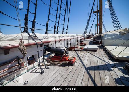 Fragata D. Fernando II e Gloria ship upper deck naval artillery, 50 gun frigate of the Portuguese Navy in Cacilhas, Almada, Portugal, 19th century sai - Stock Photo