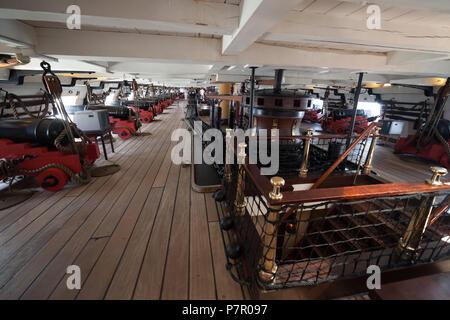 Fragata D. Fernando II e Gloria ship interior, gun deck, 50 guns frigate of the Portuguese Navy in Cacilhas, Almada, Portugal, 19th century sailing wa - Stock Photo