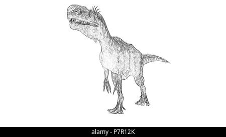 sketch of monolophosaurus - Stock Photo