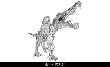 sketch of the walking spinosaurus - Stock Photo