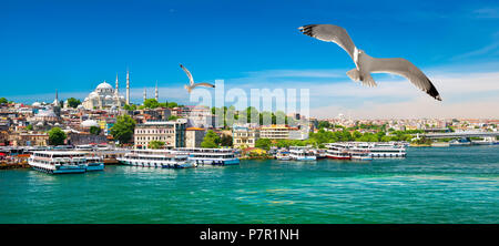 Touristic boats in Golden Horn bay of Istanbul and view on Suleymaniye mosque, Turkey - Stock Photo