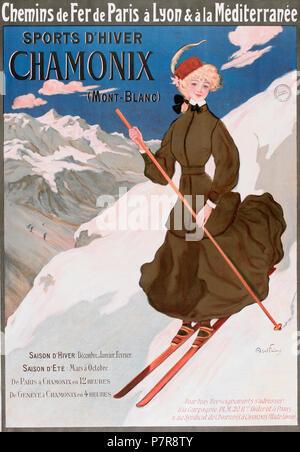 English: Sports d'hiver. Chamonix (Mont-Blanc) 1905  . 1905 351 Sports d'hiver Chamonix (Mont-Blanc), by Jules Abel Faivre - Stock Photo