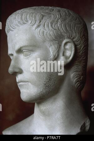 Caligula (12-41 AD). 3rd Emperor of the Roman Empire. Julio-Claudia dynasty. Marble bust. Louvre Museum. Paris. France. - Stock Photo