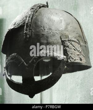 Scandinavia. Viking Age. helmet from chieftain's grave. Iron. Gjermundbu in Ringerike, Eastern Norway. 10th century. Historical Musesum. Oslo. Norway. - Stock Photo