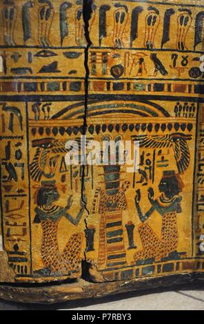 Egypt. Sarcophagus cover, The priestly from Deir-el Bahri, near Luxor. Priest. 21st Dynasty. Third Intermediate Period. Detail. Historical Museum. Oslo. Norway. - Stock Photo