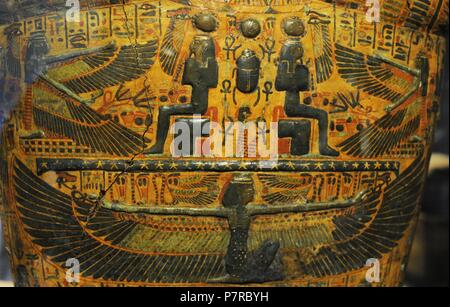 Egypt. Sarcophagus cover, The priestly from Deir-el Bahri, near Luxor. Priest. 21st Dynasty. Third Intermediate Period. Detail: Goddess Maat. Historical Museum. Oslo. Norway. - Stock Photo