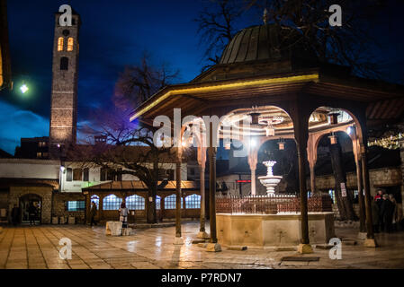 Courtyard of Gazi Husrev-beg Mosque in Sarajevo, Bosnia and Herzegovina - Stock Photo