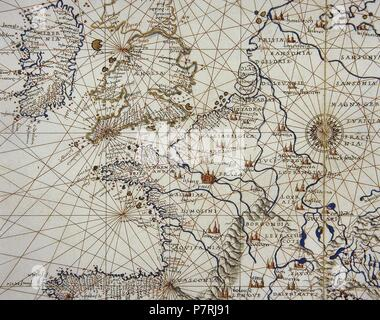 Europe. Map. 15th century. Conde Museum. Chantilly. France. - Stock Photo