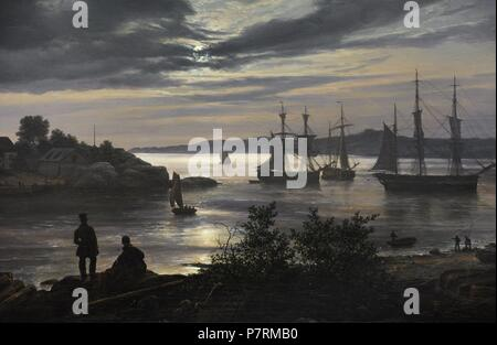 Johan Christian Dahl (1788-1857). Norwegian painter. Larvik by Moonlight, 1839. Detail. National Gallery. Oslo. Norway. - Stock Photo