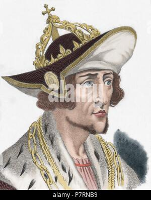 Adolf of Germany (1255-1298). Count of Nassau. King of the Romans. Engraving by Manceau, 1838. Colored. - Stock Photo