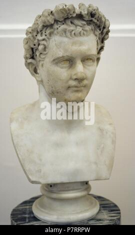 Domitian (51-96 AD). Roman Emperor. Flavian dynasty. Bust. AD 75-81. National Arhaeological Museum. Naples. Italy. - Stock Photo