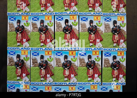 Scottish fridge magnets for sale on the Roal Mile in Edinburgh, Scotland, UK. - Stock Photo
