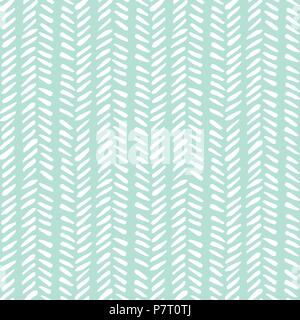 White hand drawn abstract herringbone leaves on red background