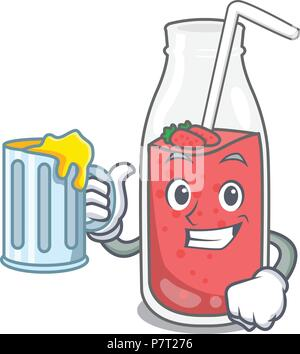 With juice strawberry smoothie mascot cartoon - Stock Photo
