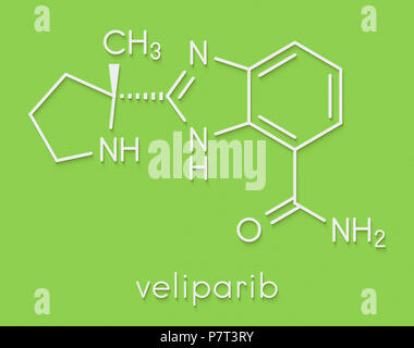 Veliparib cancer drug molecule (PARP inhibitor). Skeletal formula. - Stock Photo