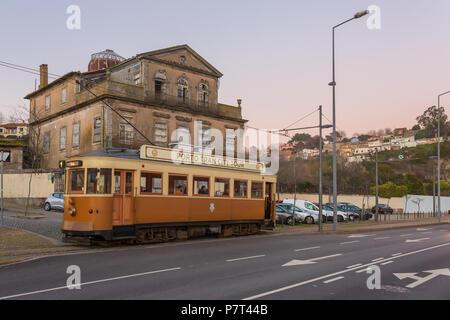 Porto, Portugal - January 17, 2018: Old tram in Porto, Portugal. - Stock Photo
