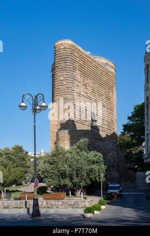 Qiz Galasi, Maiden's Tower in the Icheri Sheher( Ichari Shahar)of Baku, Azerbaijan - Stock Photo
