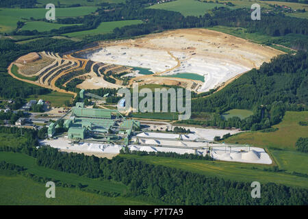 OPEN PIT SAND MINE IN THE BOHEMIAN PARADISE REGION  (aerial view). Hrdonovice, Bohemia, Czech Republic. - Stock Photo