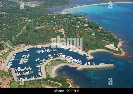 MARINA OF PUNTALDIA (aerial view). Province of Olbia-Tempio, Sardinia, Italy. - Stock Photo