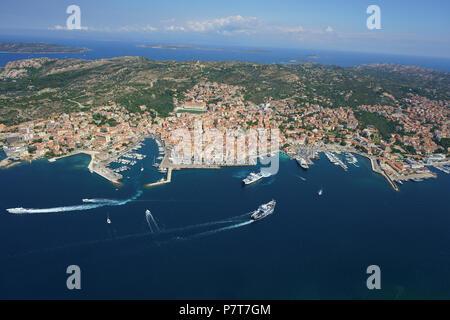 CITY OF LA MADDALENA WITH NON-STOP CAR FERRIES LINKING TO THE MAIN ISLAND OF SARDINIA (aerial view). Province of Olbia-Tempio, Sardinia, Italy. - Stock Photo