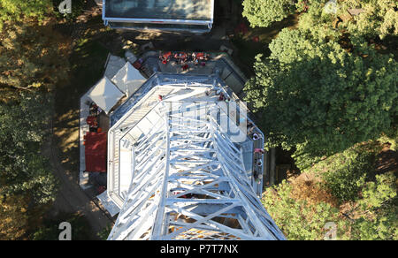 small steel Eiffel tower seen from high to low in Prague in Czech Republic - Stock Photo