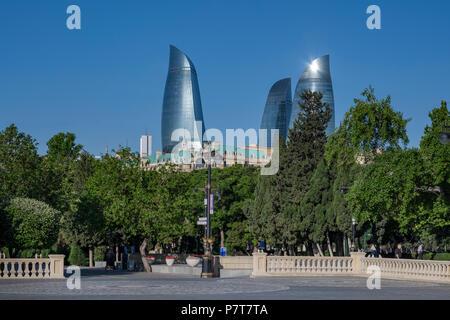 The Flame Towers seen from the Dagustu Park in Baku,Azerbaijan - Stock Photo